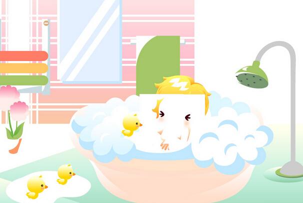 儿童洗澡步骤幼儿图片