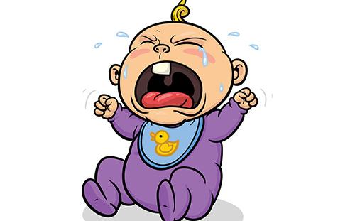 哭闹的宝宝 矢量图