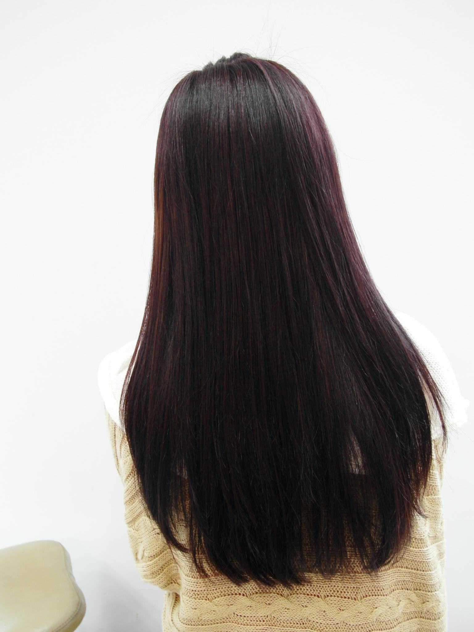 紫黑色頭發效果圖 圖